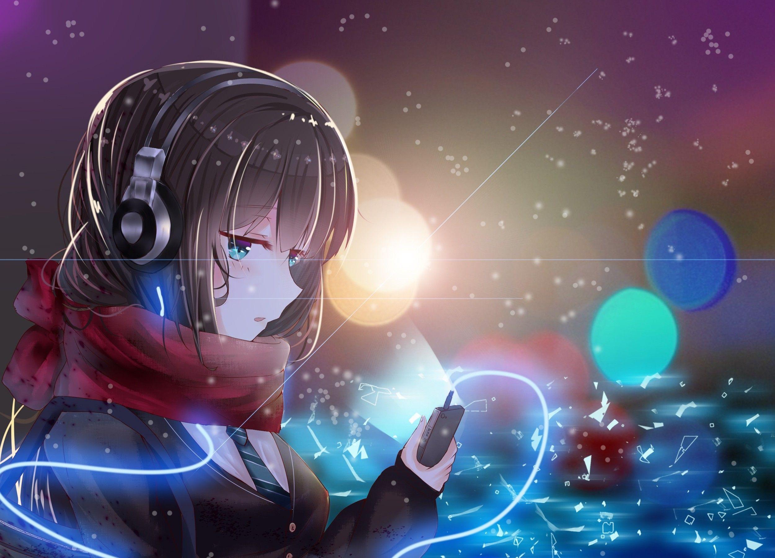 Красивые аниме картинки девушек в наушниках