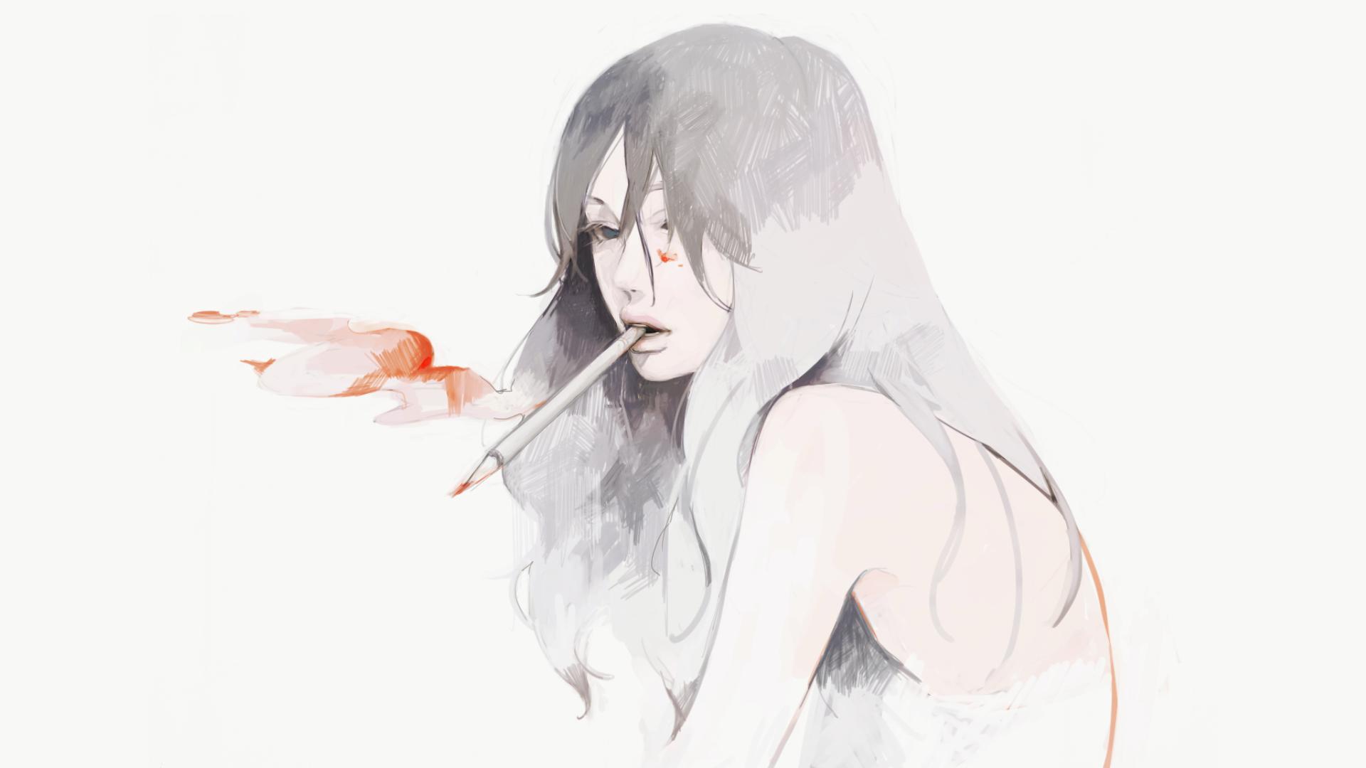 Картинки девушки аниме с сигаретой
