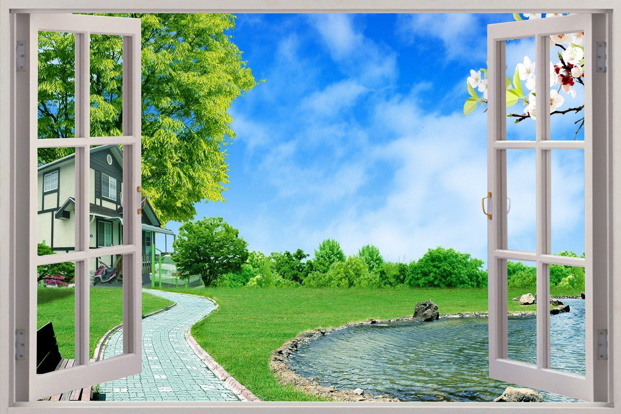 же, фотообои окно вид из окна пляж