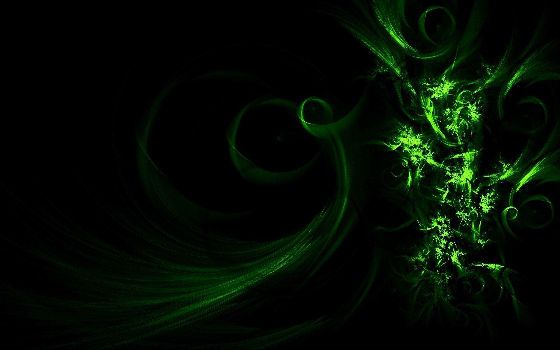 Картинки зеленые на черном фоне