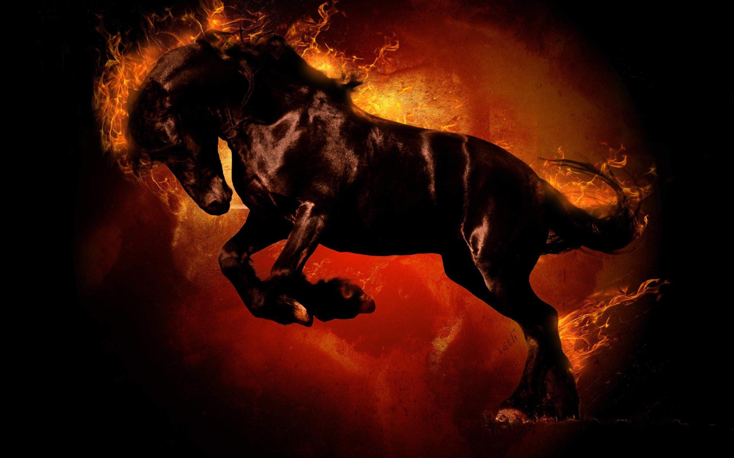 Картинки огненные кони