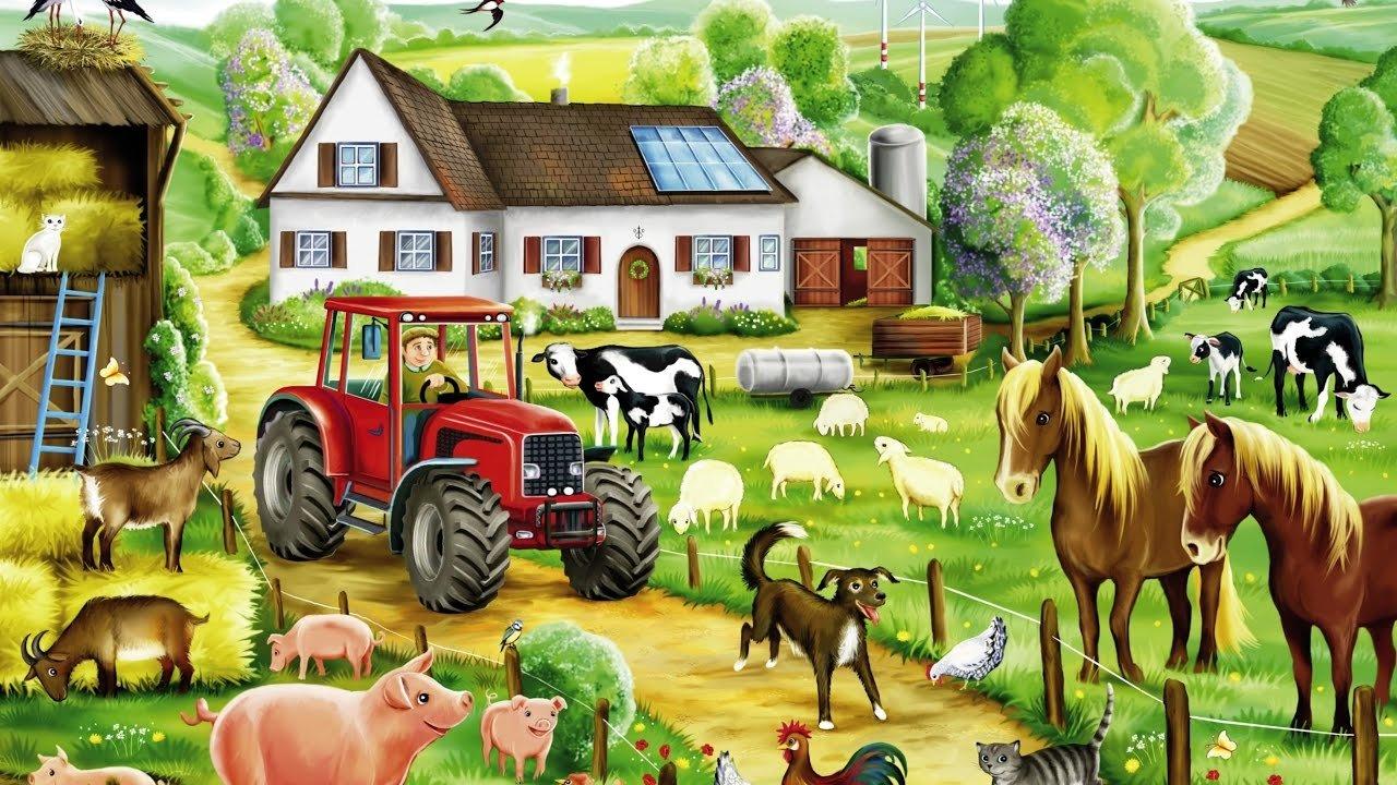 Картинка домика в деревне с пристройками для животных