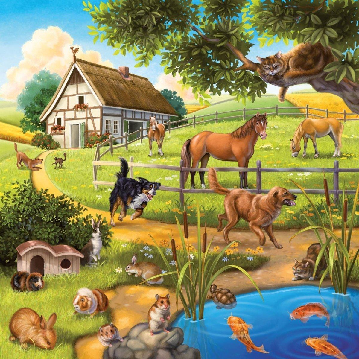 Картинка домашние животные на дворе