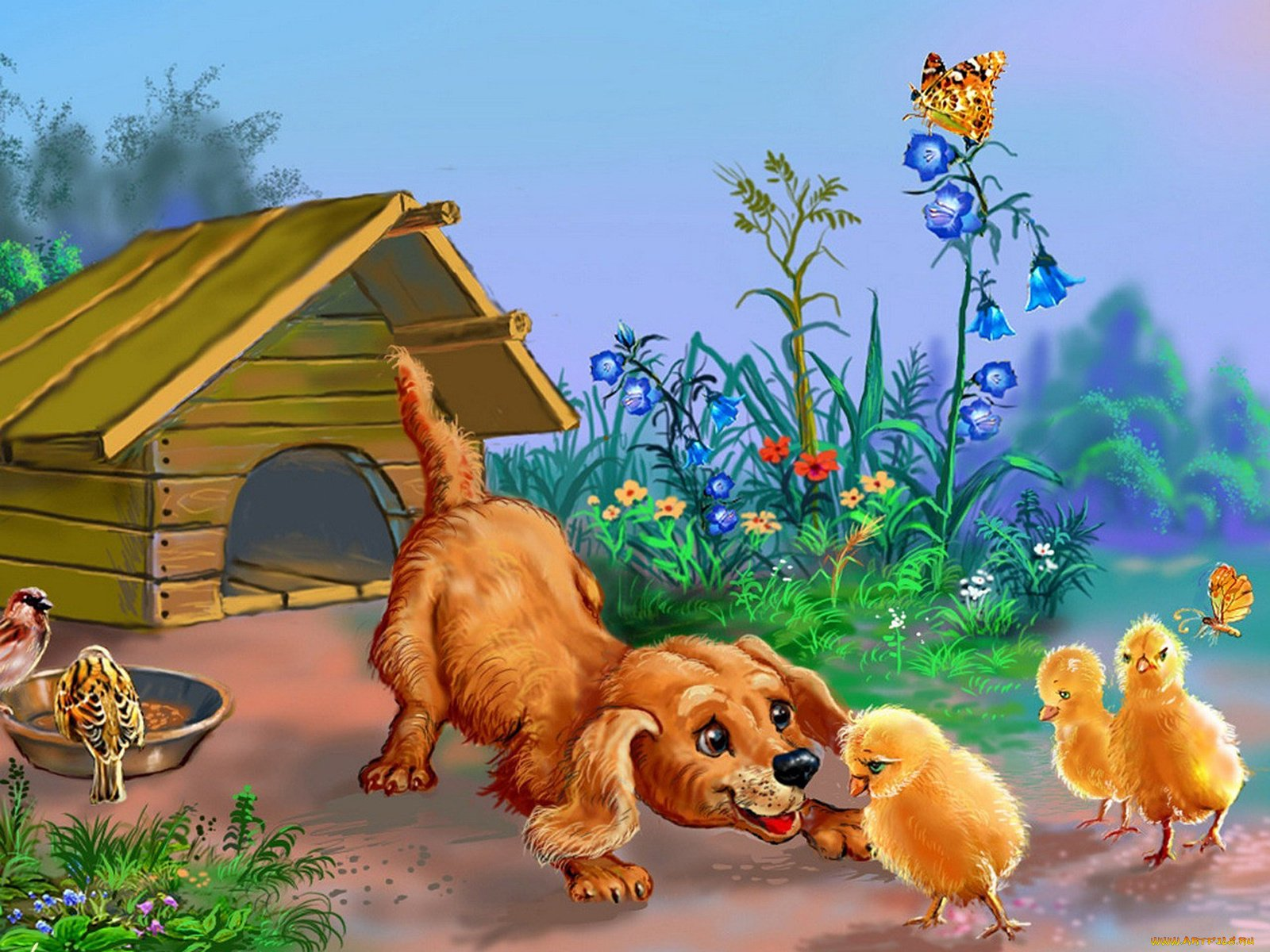 сложности картинка щенок с мамой сказочная название поста
