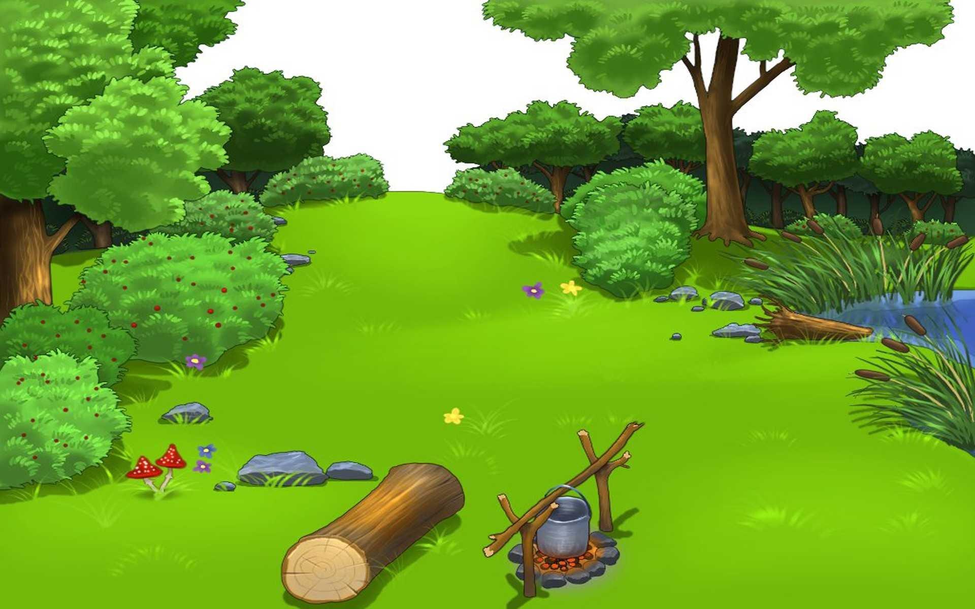 Картинка для детей полянка в лесу